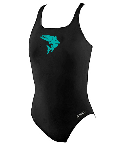 practice-suit-blue-fish - Arena Girls' Madison Athletic Thick Strap Racer Back One Piece Swimsuit