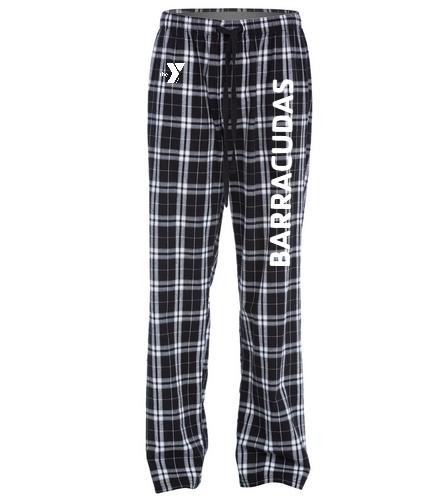 PJ-Barracudas-white - SwimOutlet Unisex Flannel Plaid Pant