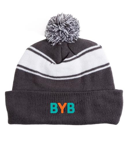 BYB - SwimOutlet Stripe Pom Pom Beanie