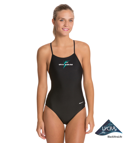 Jupiter Diving Club blk Sporti with chest 4x4 logo with whi lettering - Sporti Micro Back One Piece Swimsuit