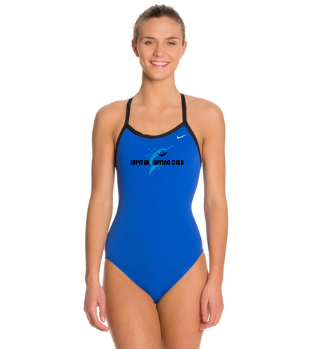Jupiter Diving Club  Nike Varsity Royal chest logo - Nike Women's Solid Poly Training Lingerie Tank One Piece Swimsuit