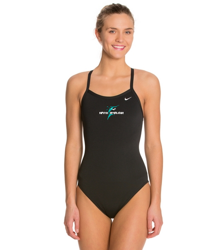 Jupiter Diving Club 4x4 chest logo blk - Nike Women's Solid Poly Training Lingerie Tank One Piece Swimsuit