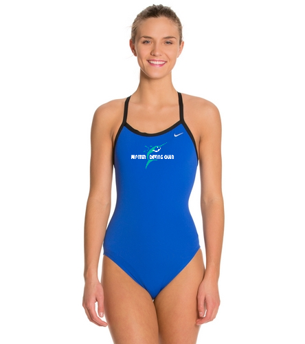 Jupiter Diving Club Varsity Royal w/chest logo/white lettering - Nike Women's Solid Poly Training Lingerie Tank One Piece Swimsuit