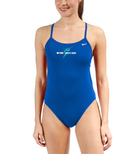 Jupiter Diving Club Niki Varsity Royal 4x4 chest logo with white lettering - Nike Swim Polyester Cut-Out Tank One Piece Swimsuit