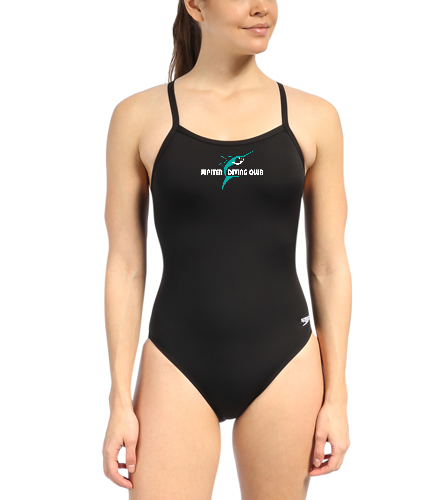 Jupiter Diving Club blk speedo 4x4 chest logo with white lettering - Speedo Solid Endurance + Flyback Training One Piece Swimsuit
