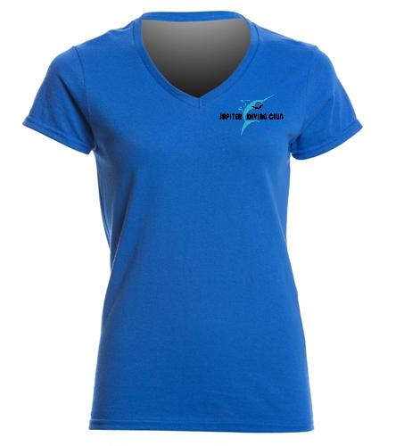 Jupiter Diving Club Aqua v-neck w/team logo - SwimOutlet Women's Cotton V-Neck T-Shirt