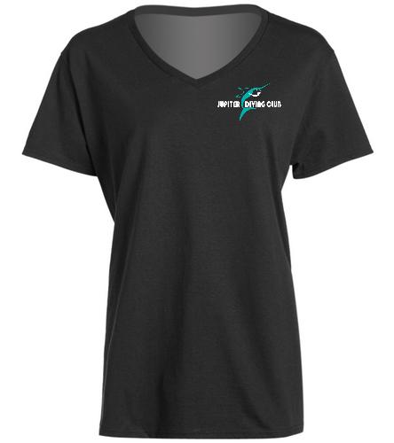 Jupiter Diving Club Blk Womens V-neck T-shirt - SwimOutlet Women's Cotton V-Neck T-Shirt