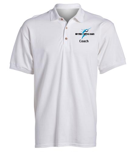 Jupiter Diving Club Coaches white Team polo - SwimOutlet Ultra Cotton Adult Men's Pique Sport Shirt