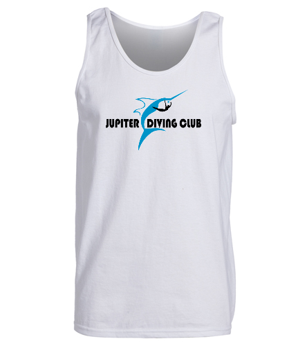 Jupiter Diving Adult white tank front logo - SwimOutlet Men's Cotton Tank Top