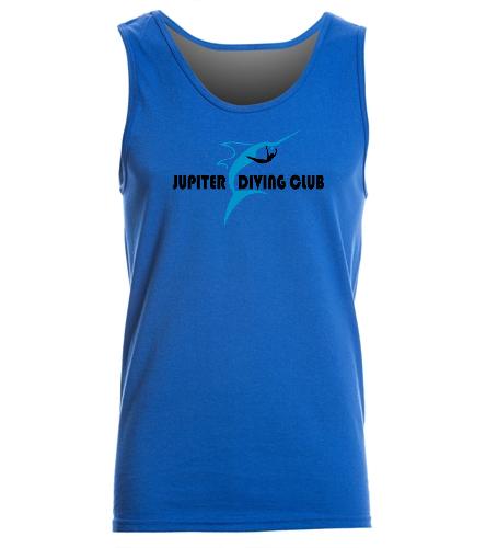 Jupiter Diving Adult tank Royal front logo - SwimOutlet Men's Cotton Tank Top