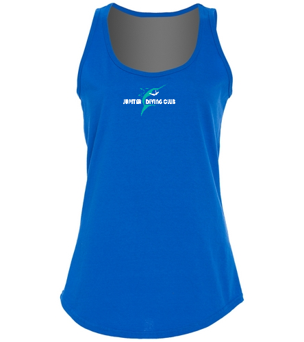 Jupiter Diving Club Ladies Tank with Med-Logo white lettering - SwimOutlet Women's Cotton Racerback Tank Top