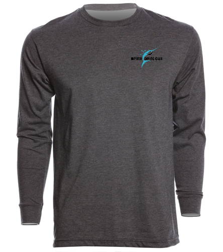 Charcoal Unisex Long Sleeve Cotton T-shirt - SwimOutlet Unisex Long Sleeve Crew/Cuff