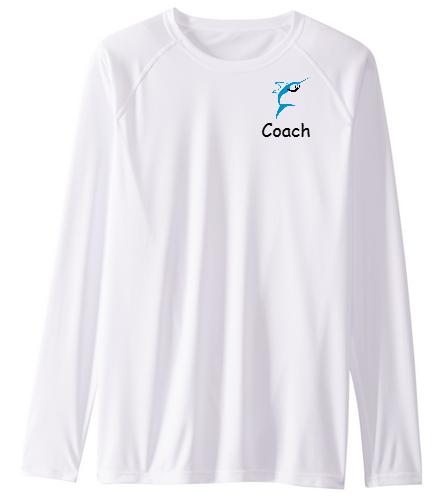 Jupiter Diving Club Coaches white long sleeve SPF shirt - Sporti Men's Solid L/S UPF 50+ Sun Shirt