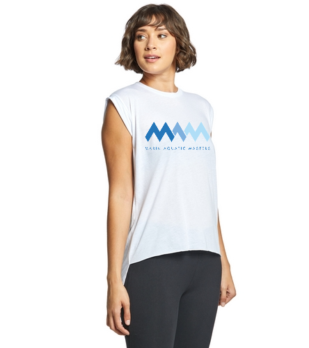 MAQ White Muscle Tee - Bella + Canvas Flowy Rolled Cuff Muscle Tee