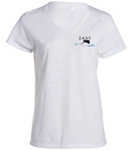 ZASC Ladies White V-Neck - SwimOutlet Women's Cotton V-Neck T-Shirt