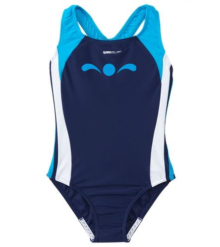 SP youth girls swimsuit  - Speedo Girls' Solid Infinity Splice One Piece Swimsuit (Big Kid)