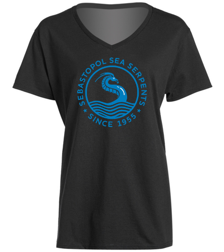SSS black vneck - SwimOutlet Women's Cotton V-Neck T-Shirt