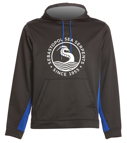 SSS black sweatshirt white screen print - SwimOutlet Sport-Wick® Fleece Colorblock Hooded Pullover