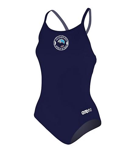 Women Master Max Logo - Arena Women's Master MaxLife Sporty Thin Strap Racer Back One Piece Swimsuit