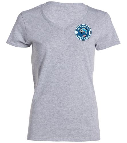 Ladies V-Neck Logo Grey - SwimOutlet Women's Cotton V-Neck T-Shirt