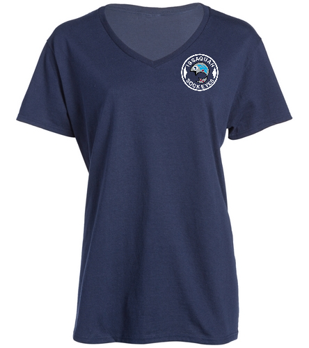 Ladies V-Neck Logo Navy - SwimOutlet Women's Cotton V-Neck T-Shirt