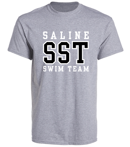 Grey w/ Black Tee - SwimOutlet Unisex Cotton Crew Neck T-Shirt