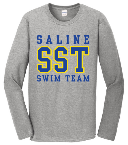 Grey w/ Blue Long Sleeve Tee - SwimOutlet Cotton Unisex Long Sleeve T-Shirt