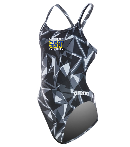 Girl's Open Back Team Suit - Arena Girls' Shattered Glass Challenge MaxLife Thin Strap Open Back One Piece Swimsuit
