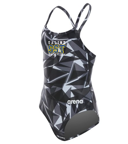 Girl's Racer Back Team Suit - Arena Girls' Shattered Glass MaxLife Sporty Thin Strap Racer Back One Piece Swimsuit