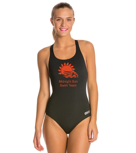 MSST Black Competition Suit - Arena Madison MaxLife Athletic Thick Strap Racer Back One Piece Swimsuit