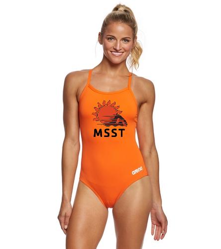 MSST Orange Master MaxLife Sporty Thin Strap - Arena Women's Master MaxLife Sporty Thin Strap Racer Back One Piece Swimsuit