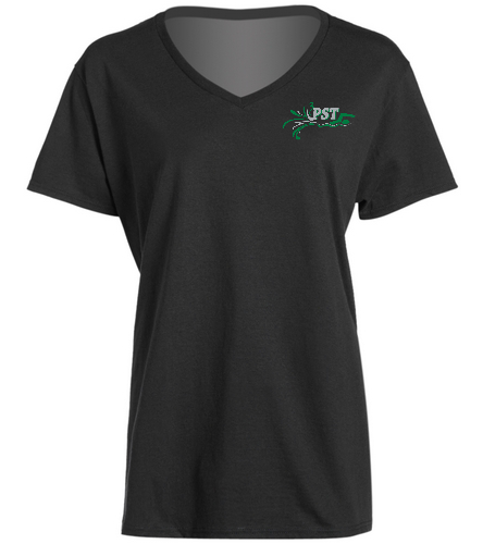 Ladies V-Neck - black - SwimOutlet Women's Cotton V-Neck T-Shirt