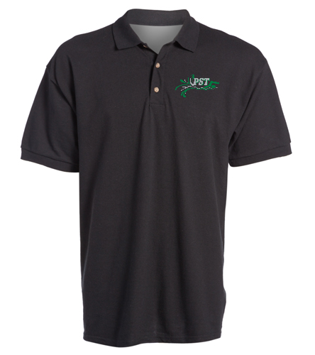 Ultra Cotton Adult Pique Sport Shirt - black - SwimOutlet Ultra Cotton Adult Men's Pique Sport Shirt