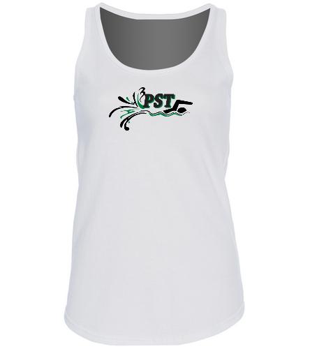 Ladies V-Neck tank top- white - SwimOutlet Women's Cotton Racerback Tank Top