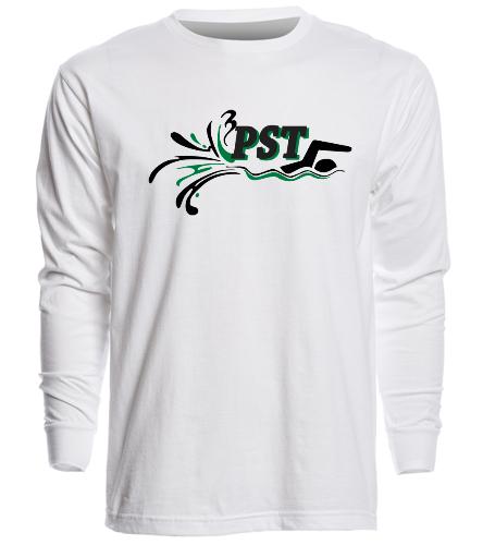 Unisex Long Sleeve Crew/Cuff- white - SwimOutlet Unisex Long Sleeve Crew/Cuff