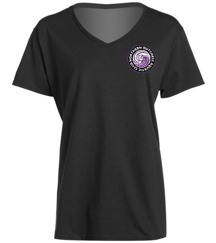 NDAC Logo V Neck Tee - SwimOutlet Women's Cotton V-Neck T-Shirt