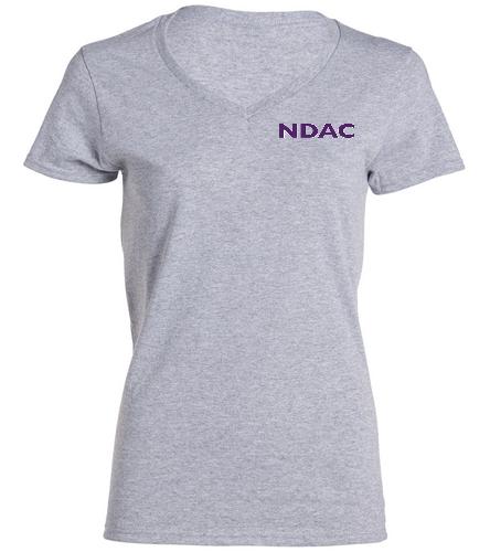 NDAC Letters Grey V Neck - SwimOutlet Women's Cotton V-Neck T-Shirt