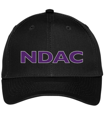 NDAC Lettering Black Cap - SwimOutlet Unisex Performance Twill Cap