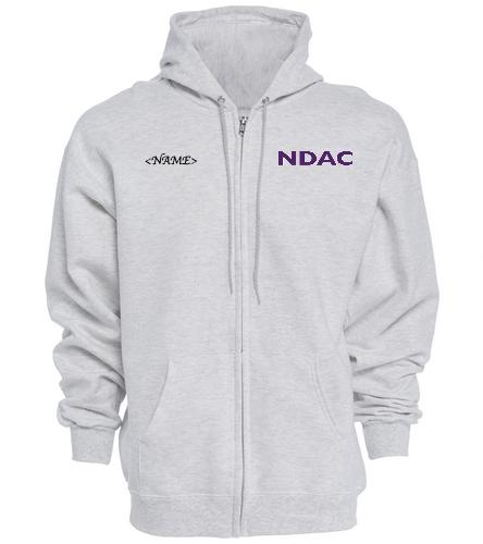 NDAC Letters Grey Zip Hoodie - SwimOutlet Unisex Adult Full Zip Hoodie
