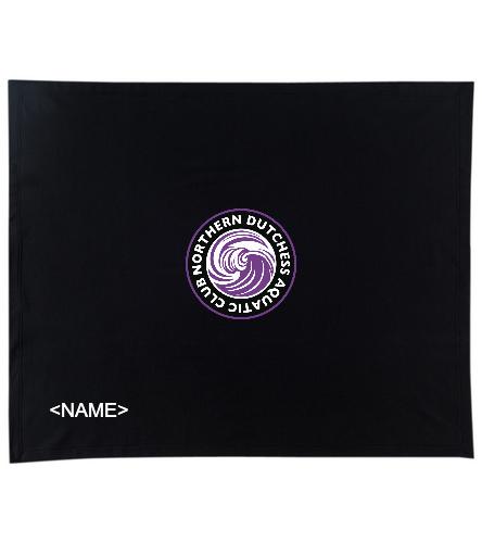 NDAC Logo black blanket with name - SwimOutlet Stadium Blanket