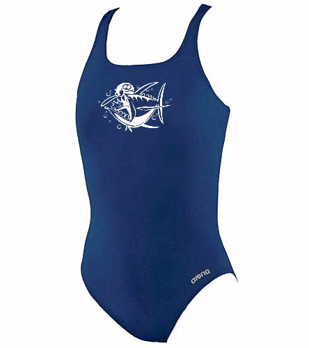 Tuna Logo - Arena Girls' Madison Athletic Thick Strap Racer Back One Piece Swimsuit