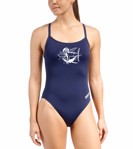 Tuna Logo - Arena Women's Mast MaxLife Thin Strap Open Racer Back One Piece Swimsuit