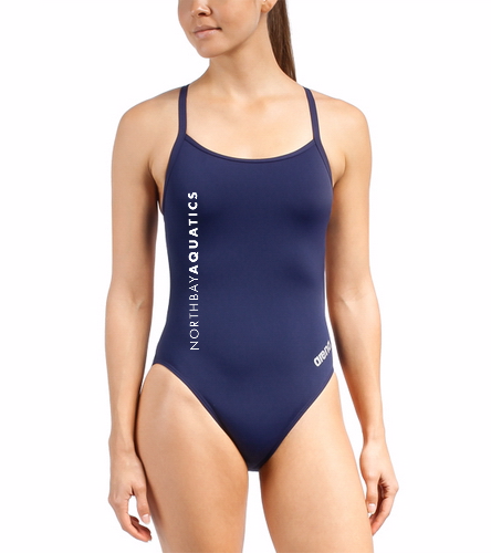 Team  Logo - Arena Women's Mast MaxLife Thin Strap Open Racer Back One Piece Swimsuit