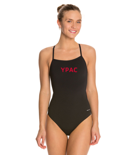 YPAC [EMBROIDERY] - Sporti Poly Pro Solid Thin Strap One Piece Swimsuit