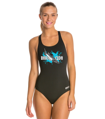 Cuda242 Thick Strap Racer Back Black - Arena Madison MaxLife Athletic Thick Strap Racer Back One Piece Swimsuit