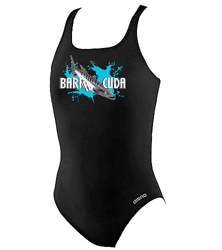 Cuda242 Girls Thick Strap Racer Back Black - Arena Girls' Madison Athletic Thick Strap Racer Back One Piece Swimsuit
