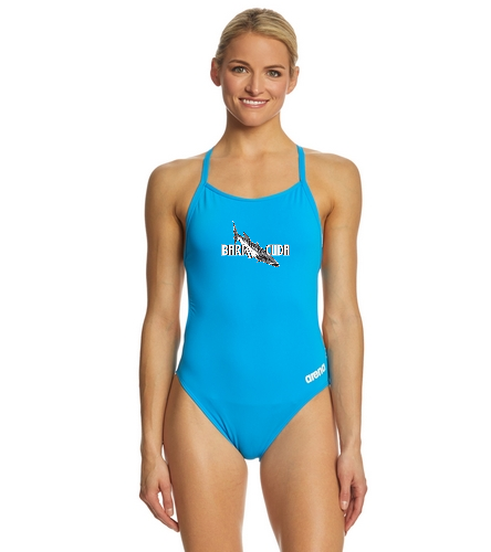 Cuda242 Turquoise - Arena Women's Mast MaxLife Thin Strap Open Racer Back One Piece Swimsuit