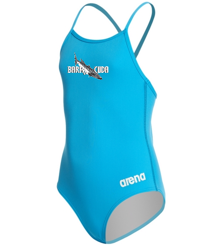 Cuda242 Turquoise - Arena Girls' Master MaxLife Thin Strap Micro Back One Piece Swimsuit