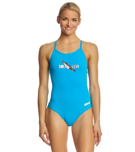 Cuda242 Turquoise - Arena Women's Master MaxLife Sporty Thin Strap Racer Back One Piece Swimsuit