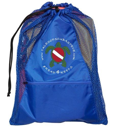Blue mesh bag with white logo - Sporti Premium Mesh Backpack